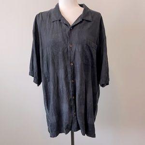 Tommy Bahama Black Silk Shirt Men's XL